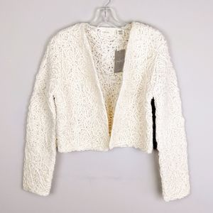 Anthropologie | Ivory Wool Textured Cardigan